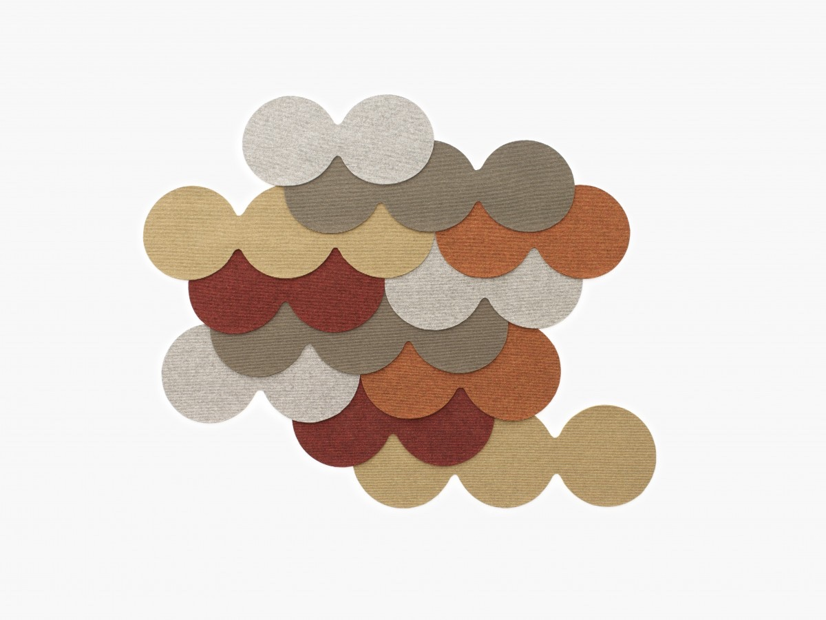 """N=N/06 Fish Skin On The Roof"" is part of the Nichetto=Nendo collection, a collaboration between Luca Nichetto and Oki Sato of Nendo. The rug is made up of small felt circles that resemble fish scales when overlapped."