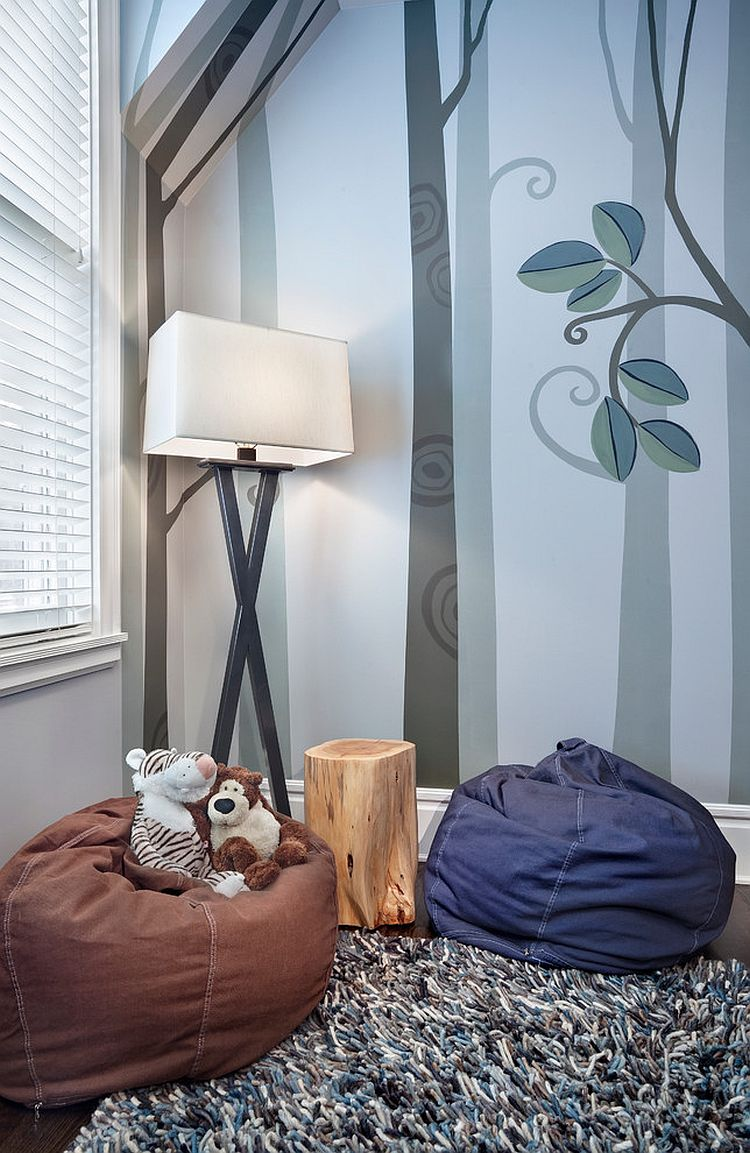 Floor lamp, wall paper and a small bean bag turn the corner into a relaxing space for your little one [Design: Tom Stringer Design Partners / Photography: Jamie Padgett]