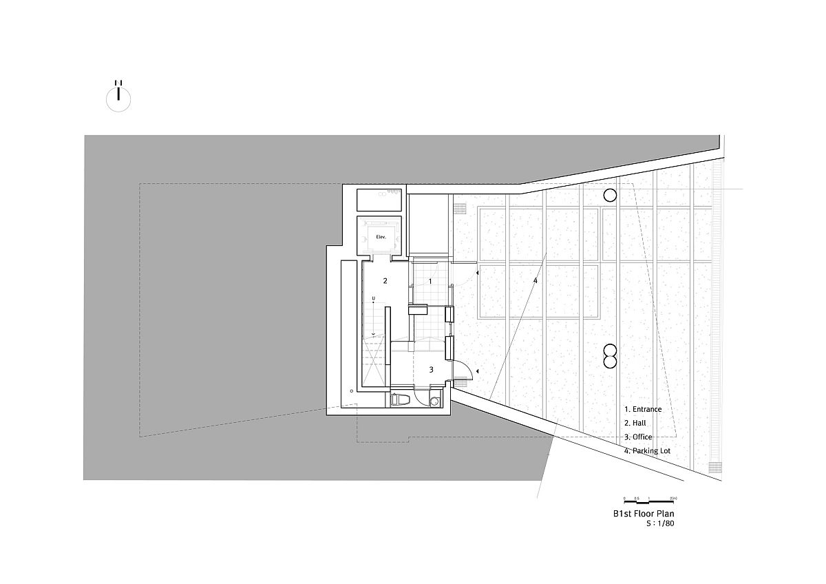 Floor plan of first level at Floating Vi