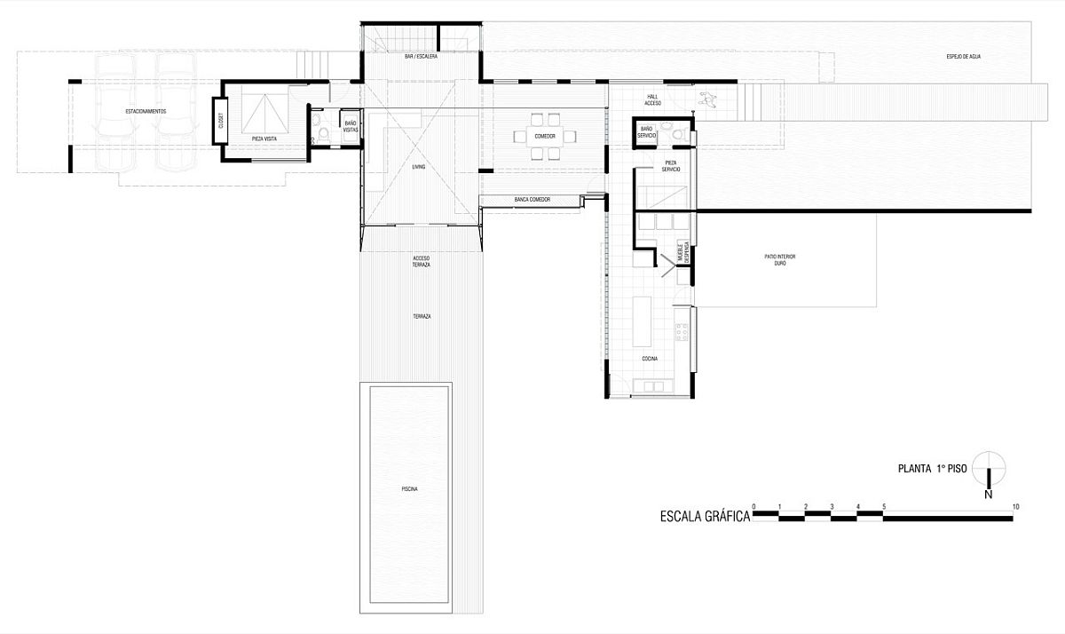 Floor plan of first level of contemporary private home in Chile