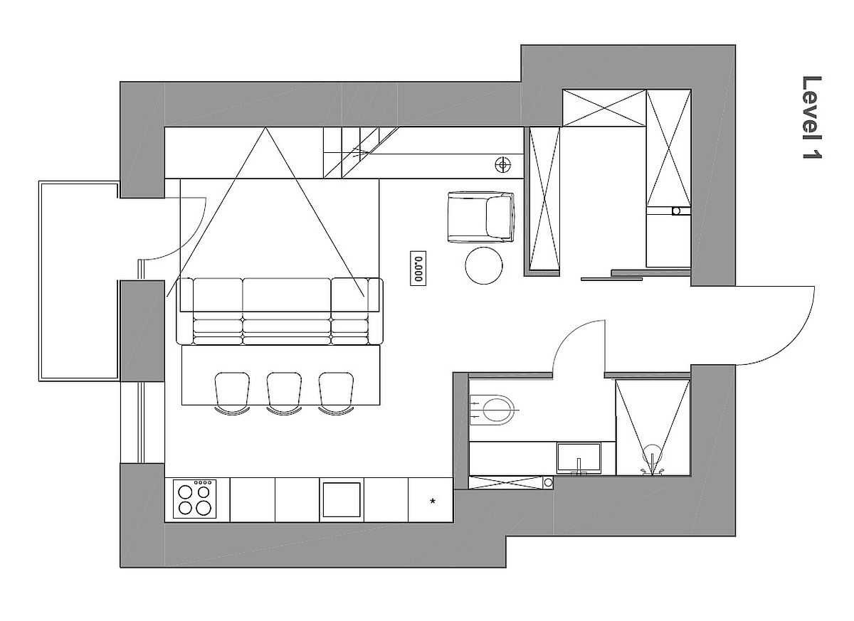 Floor plan of small apartment with a loft bedroom level