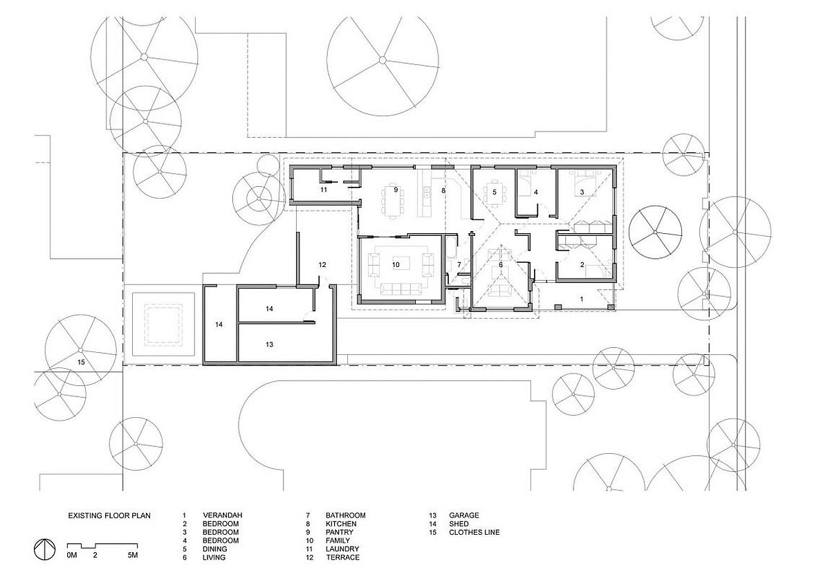 Floor plan of the Hoddle House in Australia before renovation