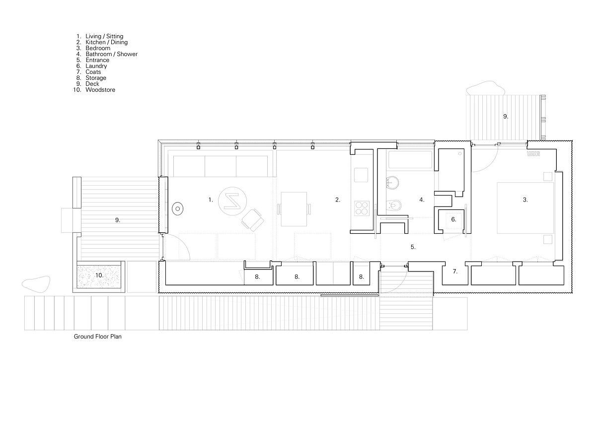 Floor plan of the modern Tinhouse on Isle of Skye