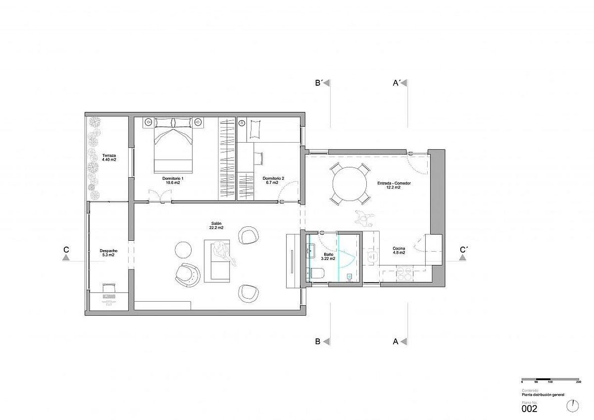 Floor plan of the renovated Barcelona apartment