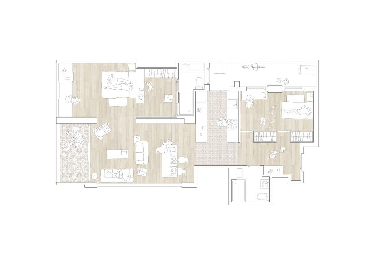 Floor plan of the renovated apartment in Barcelona