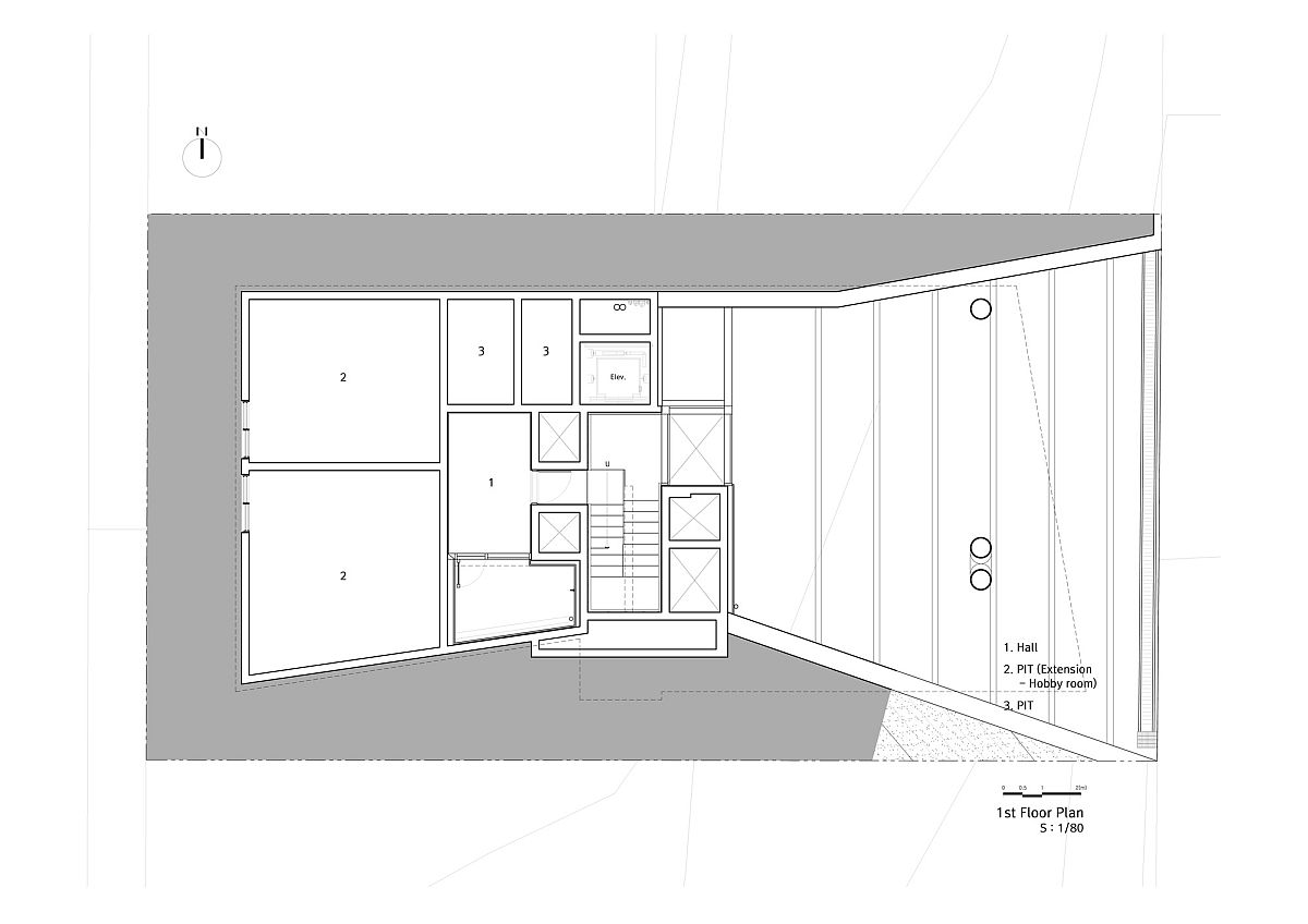 Floor plan of the second level of contemporary South Korean home