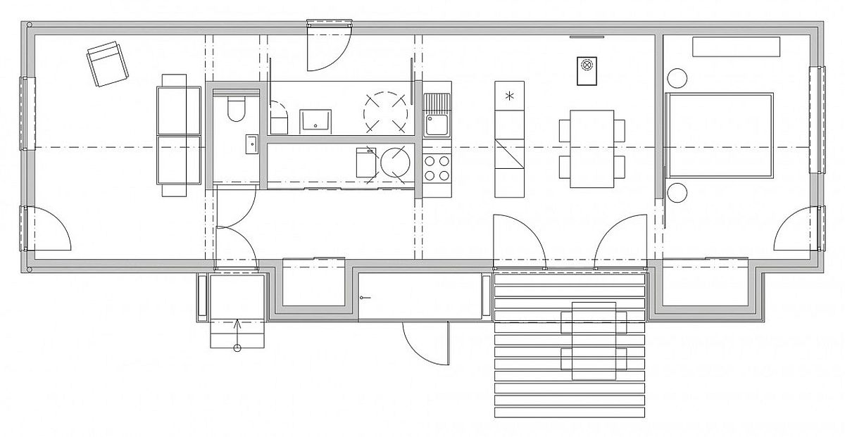 Floor plan of the wooden brick house in Slovakia