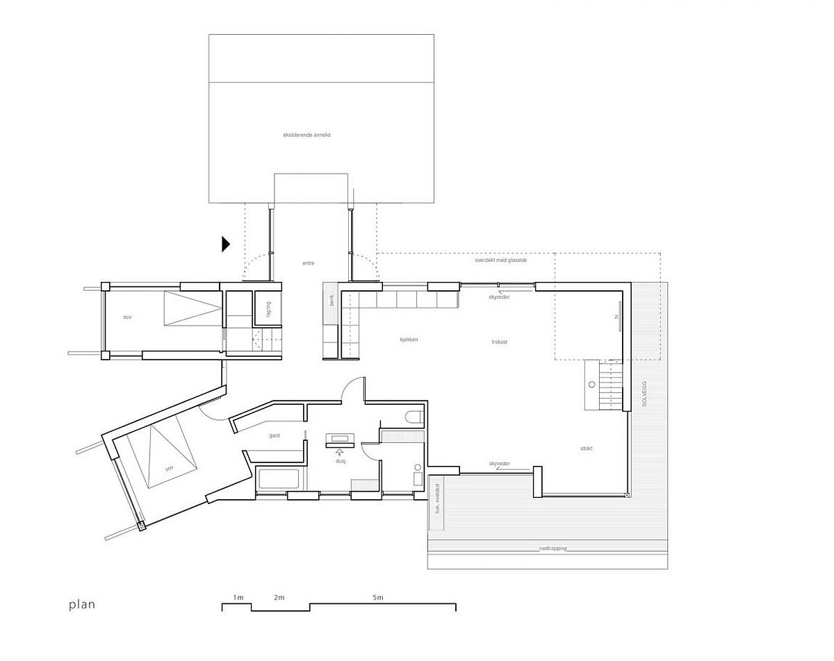 Floor plan of the wooden cabin in Straumsnes, Tingvoll, Norway