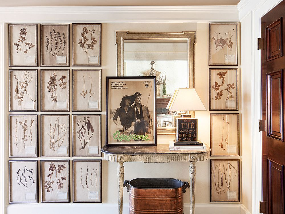 Framed botanicals make a lovely gallery wall in the entry