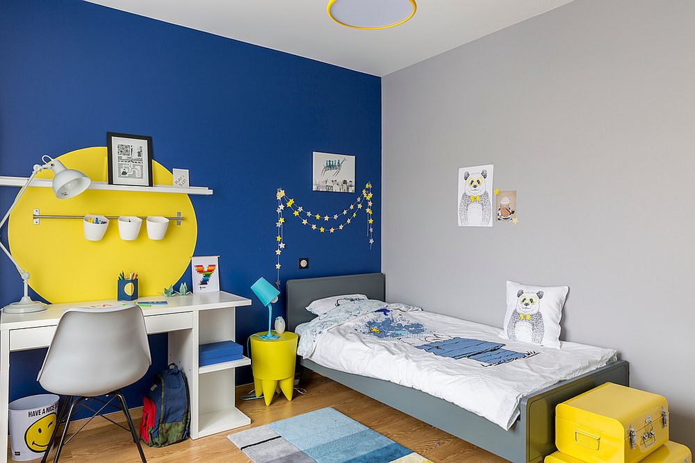 Fun way of adding yellow to a room with bright blue accent wall [From: Delphine Guyart / Ma déco pour tous]