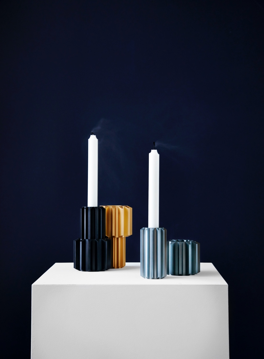 Gear Candle Holder designed by Rikke Frost. Inspired by a trip to DieselHouse, an exhibition on diesel technology in Copenhagen, the Gear Candle Holder strikes an urbane industrial countenance.