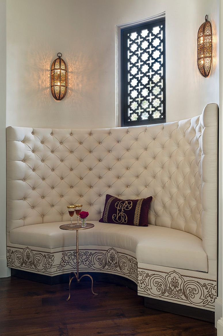 Give the dining banquette a distinct Moroccan vibe with lighting and ornate pattern [Design: Maison Maison design]