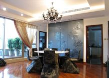 Glamorous Asian style dining room with false ceiling