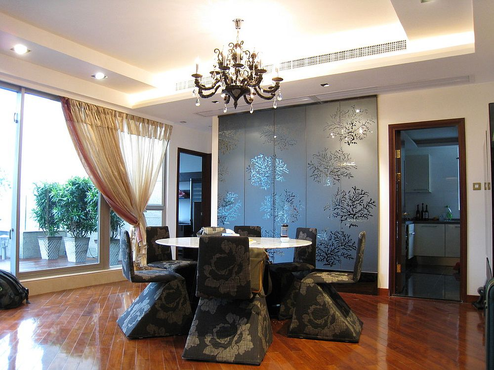 Glamorous Asian style dining room with false ceiling [Design: Corpwell - Office Interior Design Solutions]