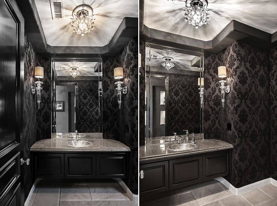 Glamorous powder room in black and white
