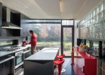 Glass bricks for the kitchen filter in sunlight in a colorful and gentle fashion