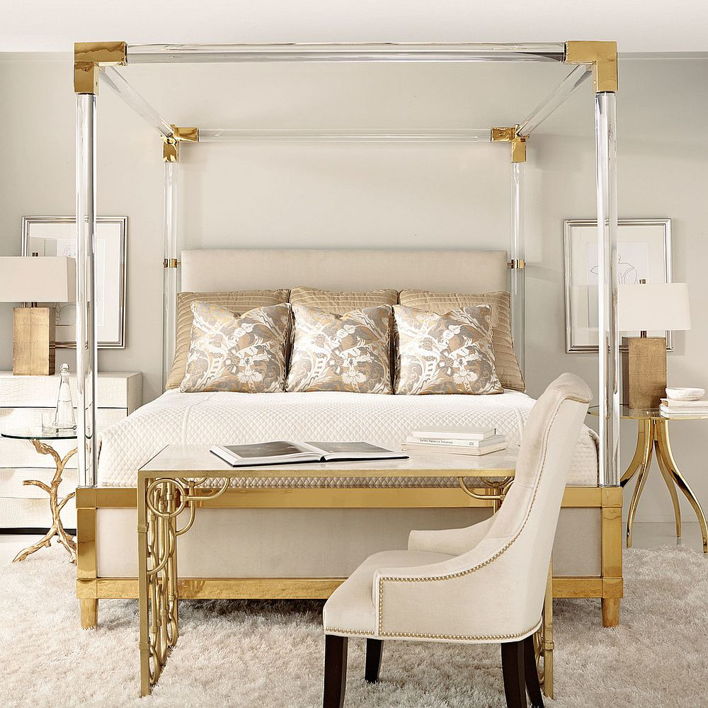 Bedside table and bed -  Go Contemporary And Sleek With Your Gold Bedside Tables Design Terri White Design