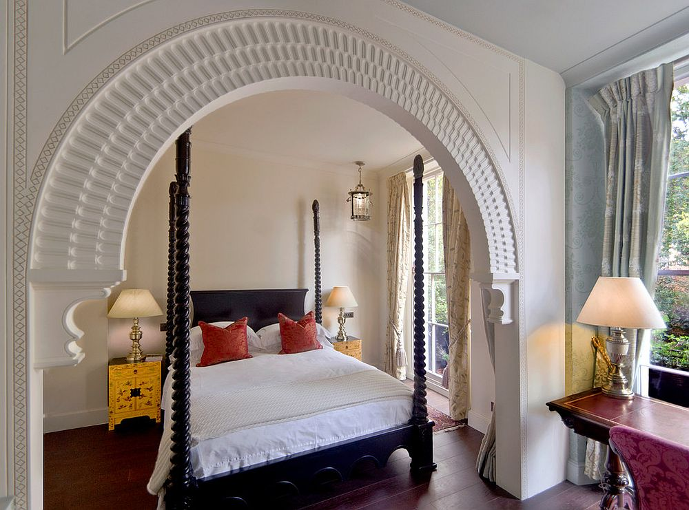 Gold bedside table becomes the focal point in this lovely Mediterranean bedroom [Design: Eliska Design Associates / Stephen Frak Photography]