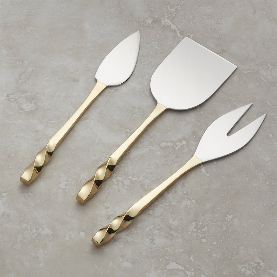 Gold cheese knives from Crate & Barrel