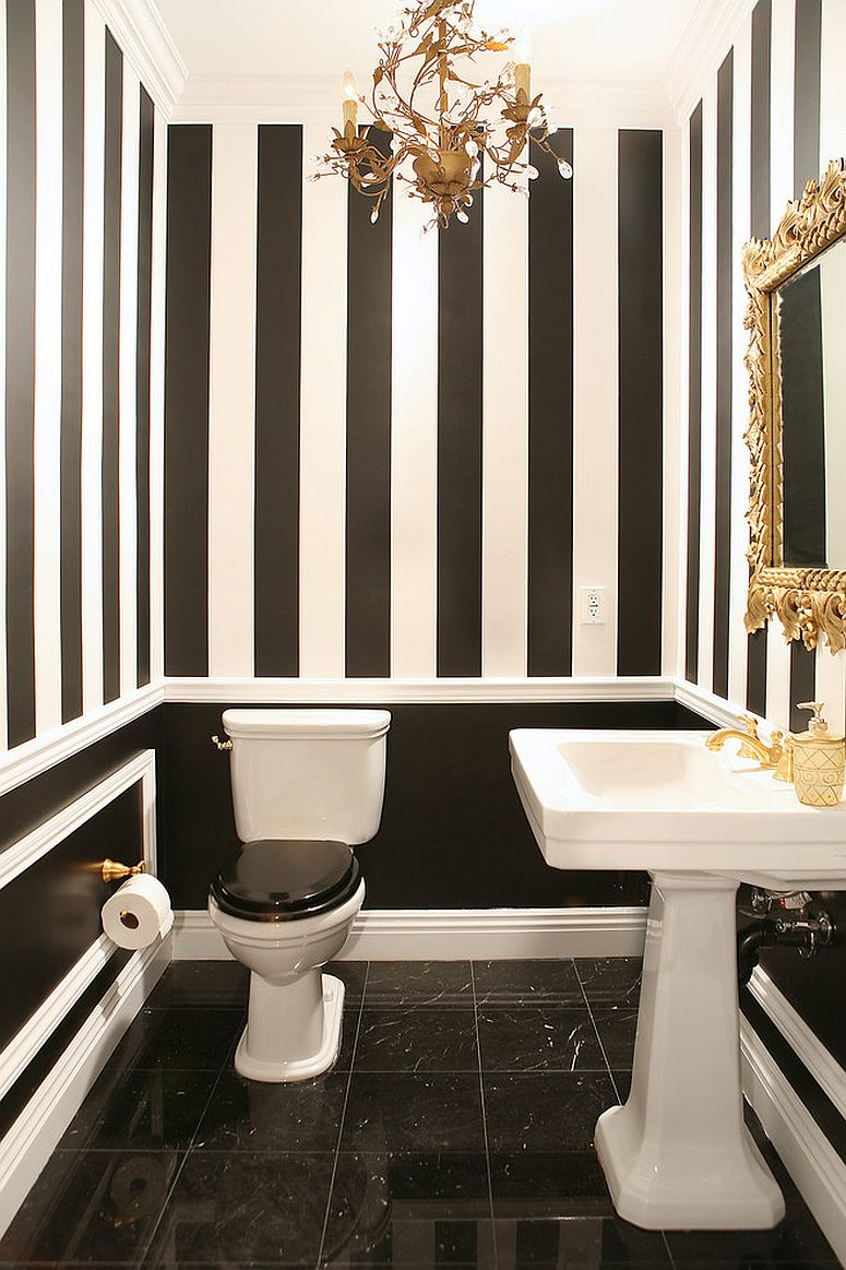 always on trend 20 powder rooms in black and white. Black Bedroom Furniture Sets. Home Design Ideas