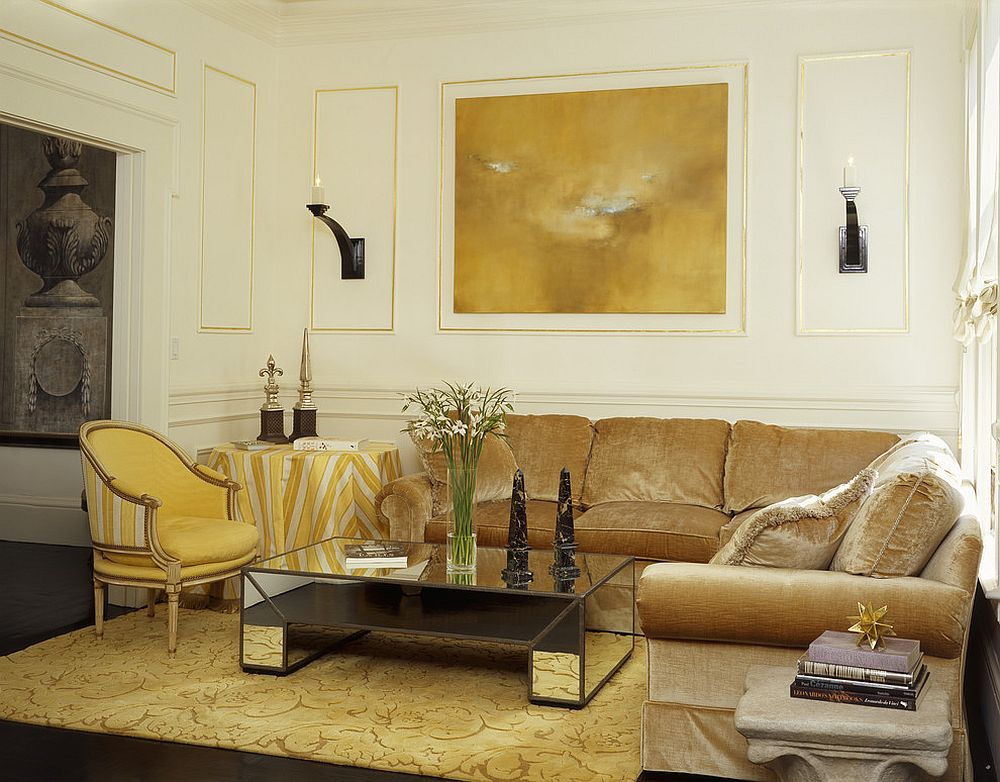 Gold is a hue that works well with mirrored furniture