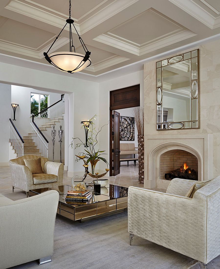 Gorgeous mirrored coffee table with a dash of golden glint [Design: Annie Santulli Designs]
