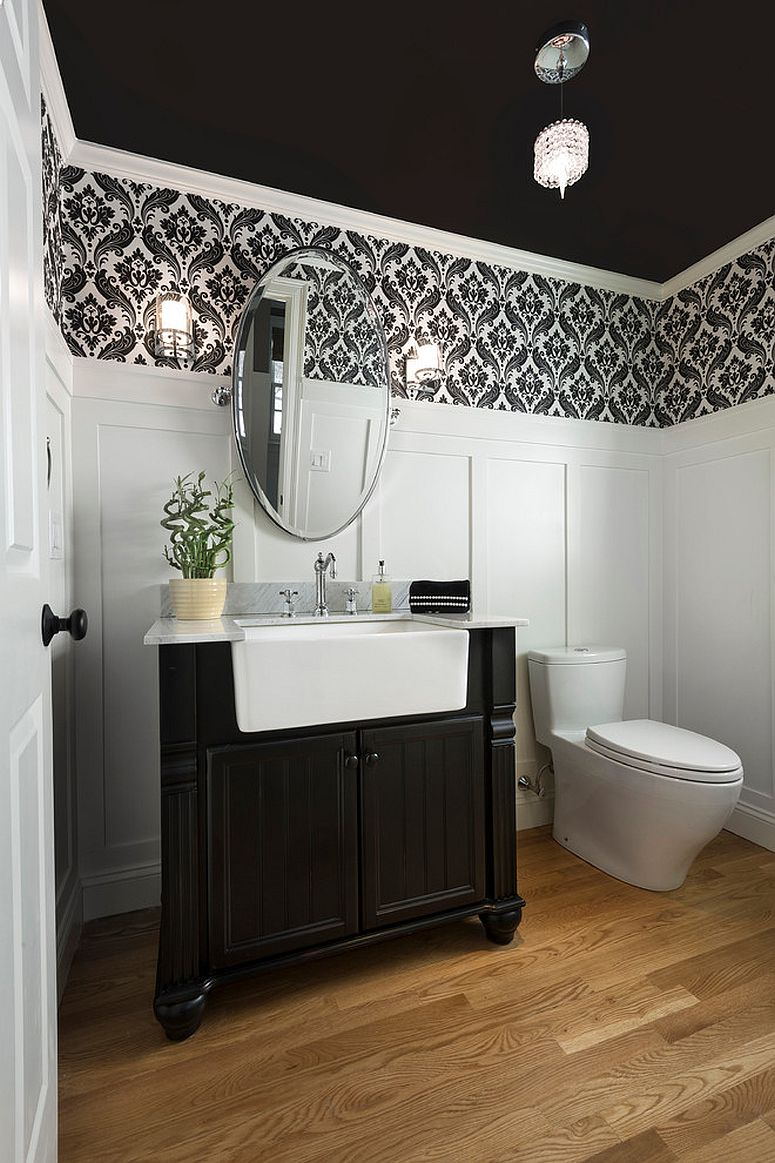 Always on trend 20 powder rooms in black and white for Small bathroom design black and white