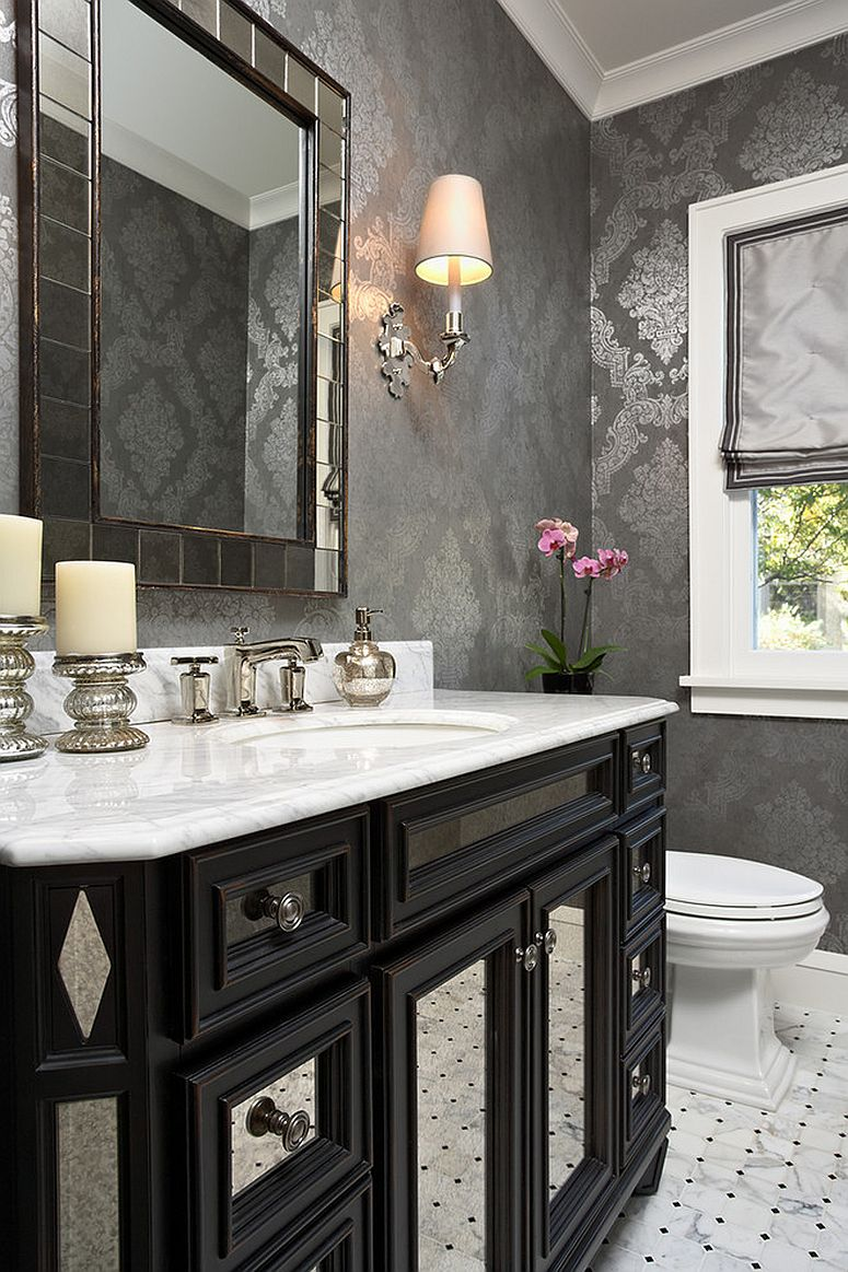Gray and slivery gray coupled with black and white in the powder room [Design: Elsie Interior / Photography by Susan Gilmore]