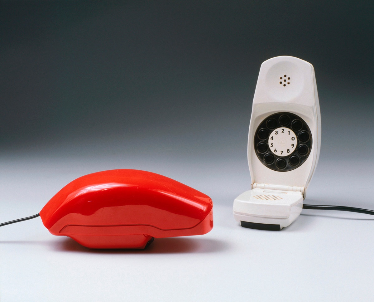 The Grillo telephone (1965) for Siemens Italtel, was the first with a flip-down mouthpiece. Designed by Richard Sapper and Marco Zanuso, it is included in the Permanent Design Collection at MoMA and won the Prize Compass d'Oro in 1967. Photo: Marion Mennicken via Design is fine.