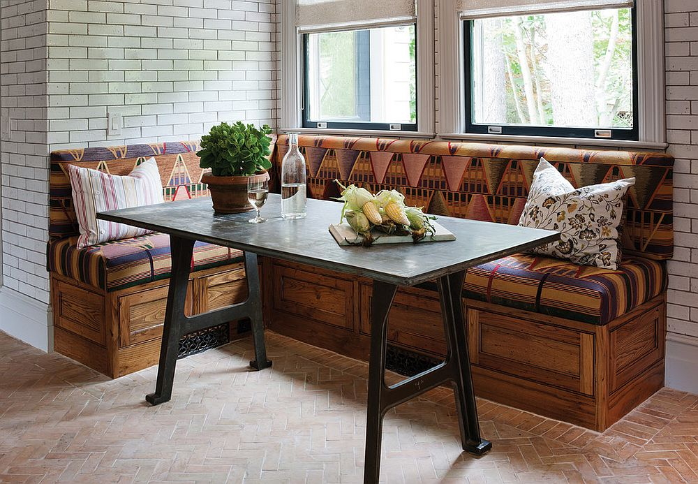 Handcrafted reclaimed chestnut bench for the rustic banquette [Design: Crown Point Cabinetry]