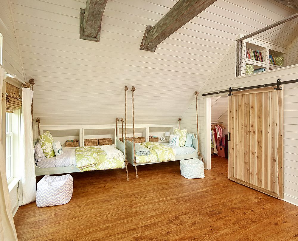 Hanging beds for the cheerful beach style kids' bedroom [Design: Vintage Porch Swings]