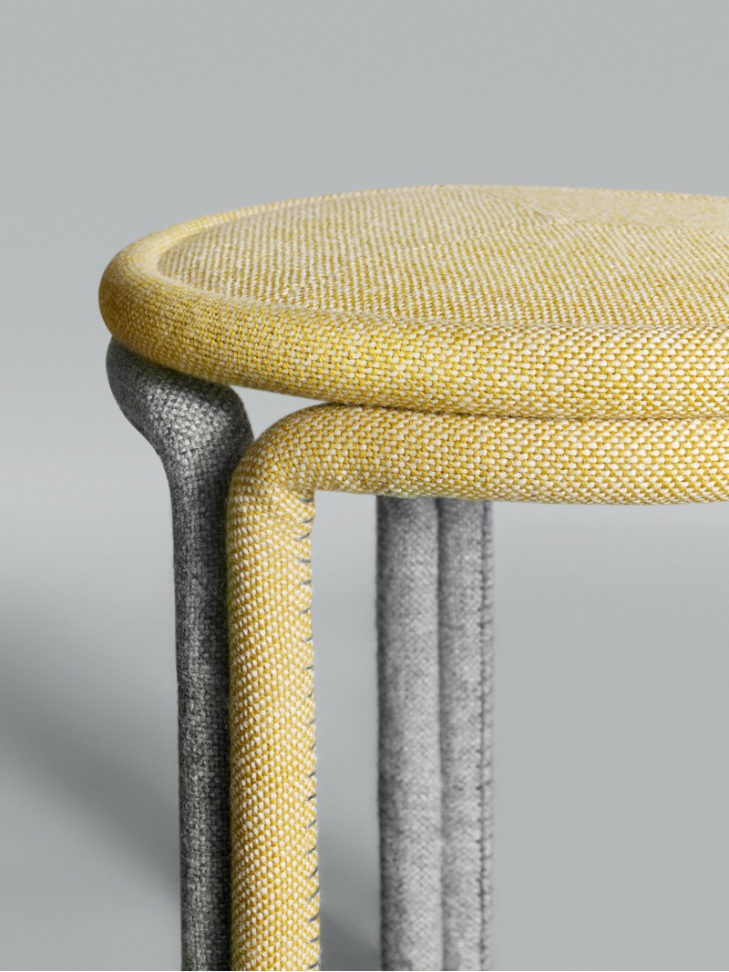 Hardie Stools by Philippe Malouin for Kvadrat. Hallingdal 65 had a structural role in the creation of these stools. The Hallingdal 65 fabric was rolled, paired with resin and then placed in wooden moulds in order to solidify. Image courtesy of Philippe Malouin.