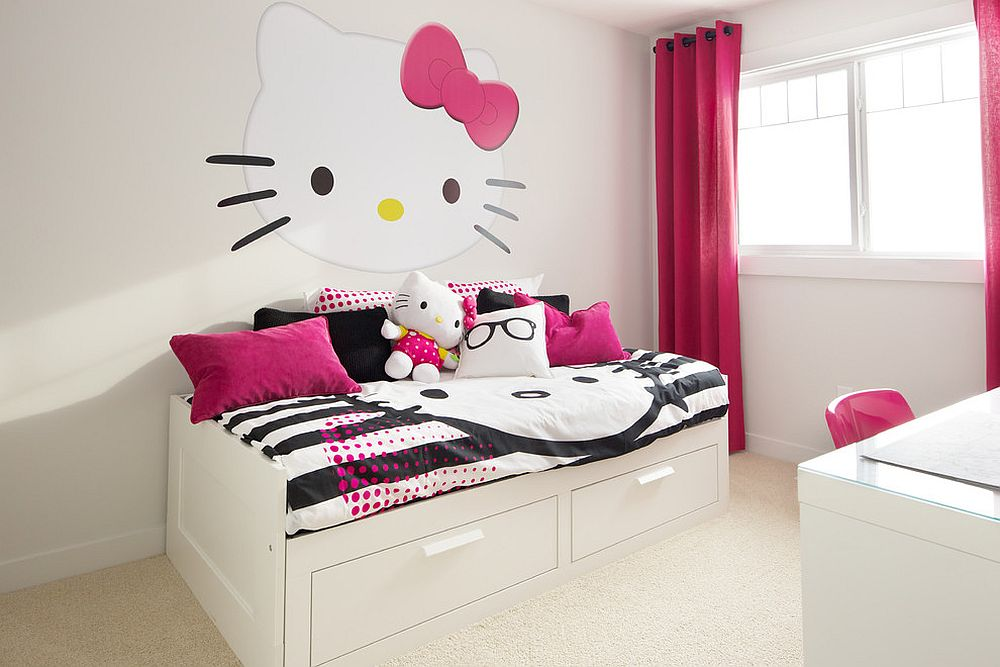 Hello Kitty bedroom idea that works well in teen and adult bedrooms as well [By: AMR Design]