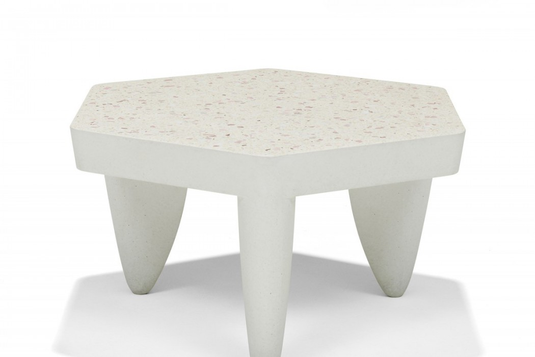Hexagonal terrazzo table with modern style