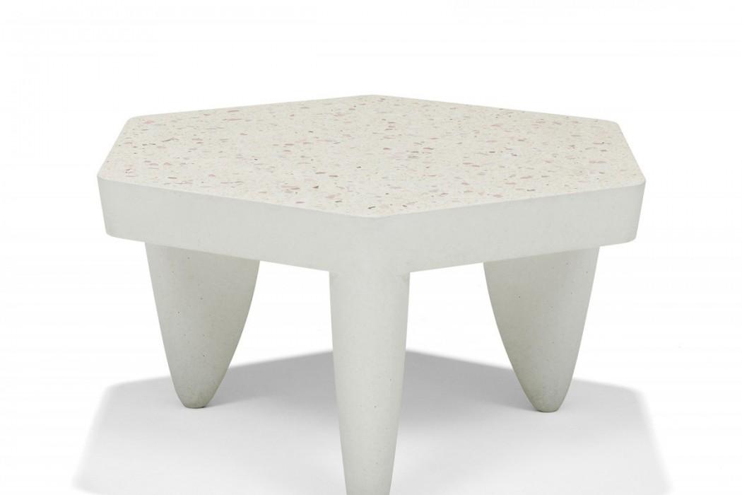 Hexagonal terrazzo table with modern style