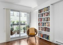 Home library and reading nook next to the small deck outside