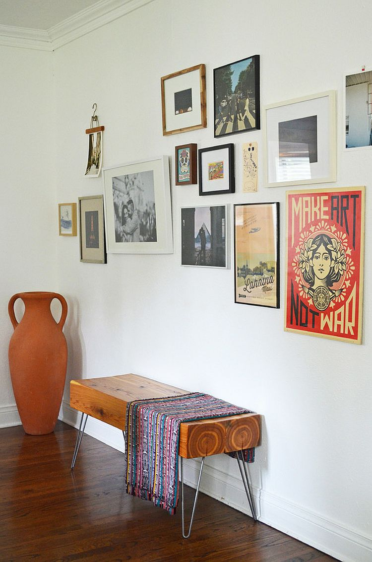 Homemade bench for the entry gives it a midcentury style [From: Sarah Greenman]