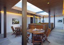 Indoor dining spaces and green hubs create a refreshing environment