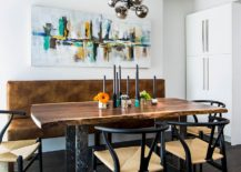 Industrial modern dining room with live edge table and bench