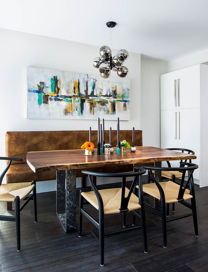 Industrial modern dining room with live edge table and bench [Design: Carriage Lane Design-Build / Stephani Buchman Photography]