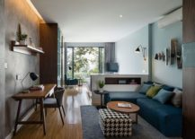 Industrial modern living area of the small 40 sqaure meter apartment at the Pepeer House