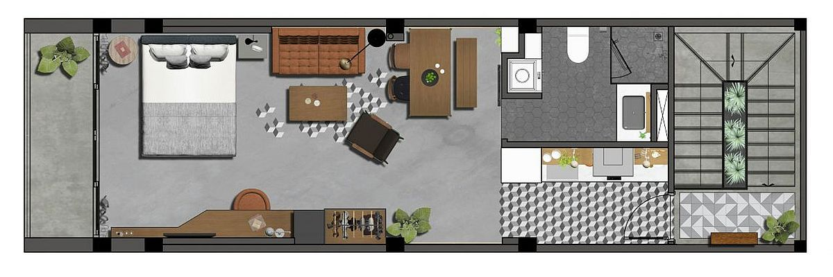 Industrial retro apartment floor plan