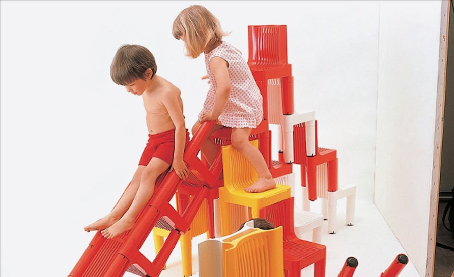 The stackable K 1340 polyethylene children's chair (1964) for Kartell was the first chair built entirely of injection moulded plastic. Designed by Richard Sapper and Marco Zanuso, it won the Prize Compasso d'ora in 1964 and the Gold Medal Triennial in 1964. Image via Artspace.