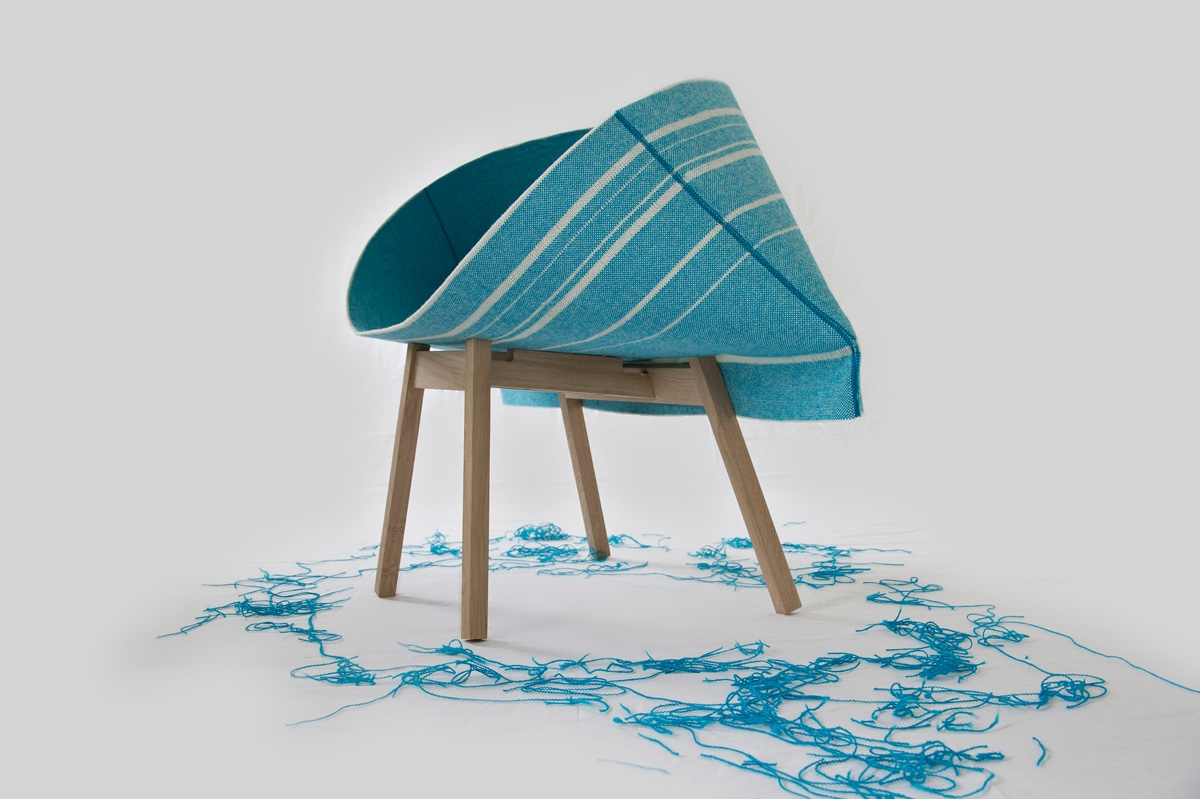 Kenny was inspired by the shape of a toothpaste tube. A curious shape, the chair was originally designed for Kvadrat by London-basedRaw-Edges. Image courtesy of Raw Edges.