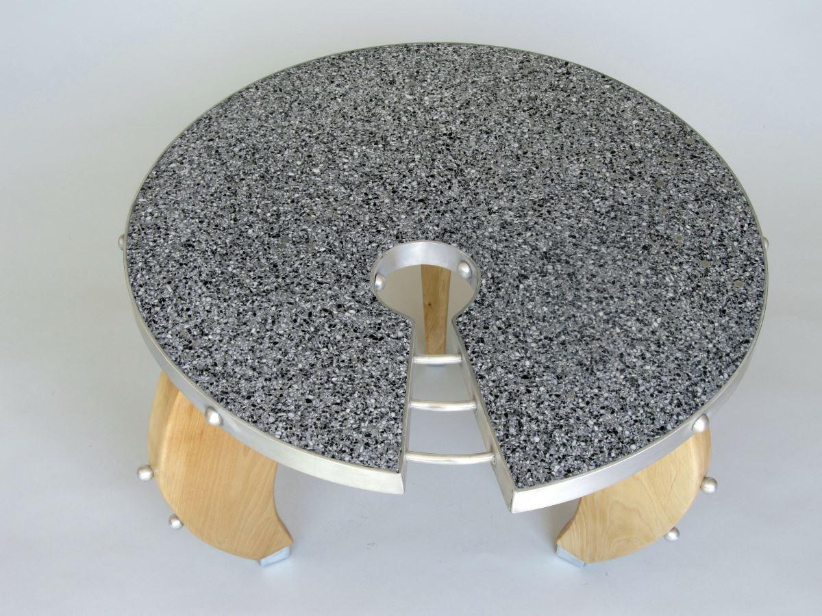 Keyhole terrazzo table from Terrazzo by Lorenzo