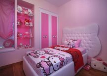 Kids' bedroom with exclusive Hello Kitty bedding, plush toys and an overdose of pink