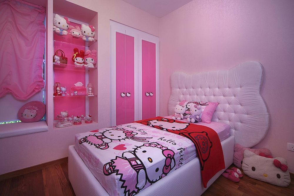 Kids' bedroom with exclusive Hello Kitty bedding, plush toys and an overdose of pink [Design: The Interior Place (S) Pte Ltd]