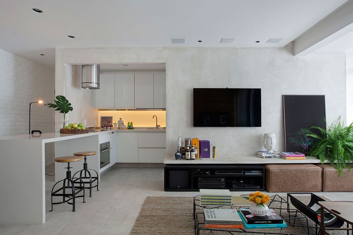 View in gallery l shaped kitchen of the small apartment is a space saver