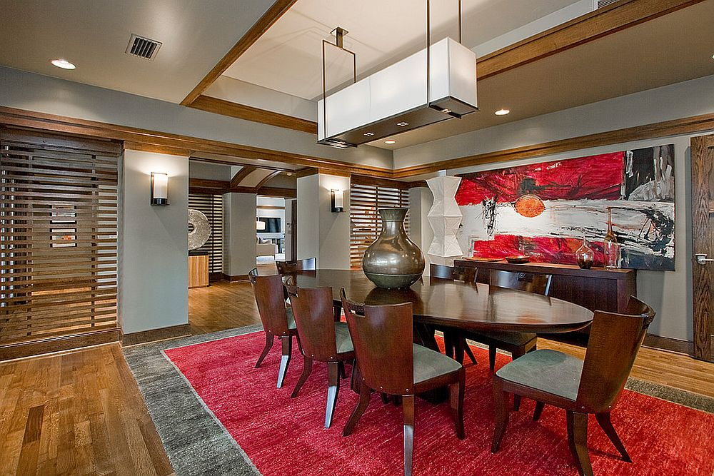 Lantern lighting and a splash of red for the Asian dining room [From: 3wiredesigns / Chris White]