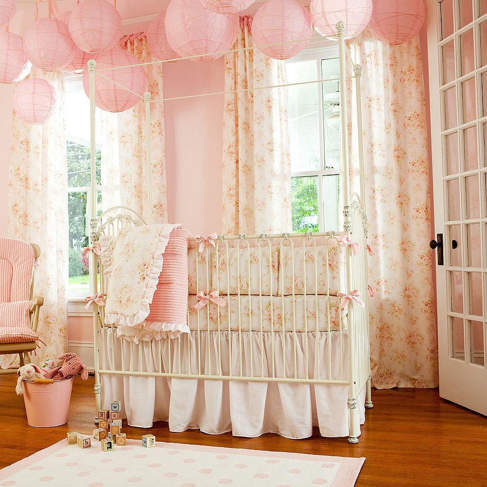 Lantern lighting in baby pink steals the show in this cozy girls nursery 10 Shabby Chic Nurseries with Charming Pink Radiance